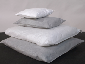 Oil and Universal Absorbent Pillows stacked on each other.