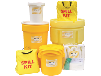 Group of various sized spill kits.