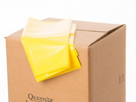 Labpacker box closed with yellow liner on top.