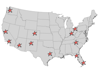 Map of Questar warehouses within the United States